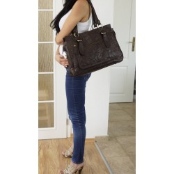 Leather handbag Rina XXL in distressed deep brown leather shoulder crossbody bag