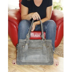 Leather handbag Rina XXL in distressed gray leather shoulder crossbody bag