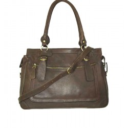 Leather handbag Rina XXL in mocha brown leather shoulder crossbody bag