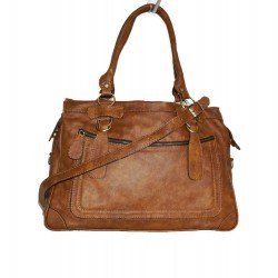 Leather handbag Rina XXL in tan leather shoulder crossbody bag