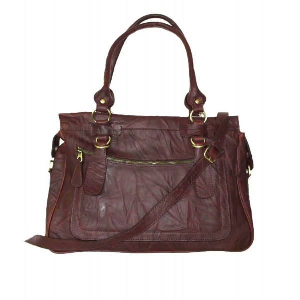Leather handbag Rina XXL vintage mahogany brown leather shoulder crossbody bag