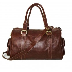 Leather duffel crossbody bag Tal satchel in distressed brown