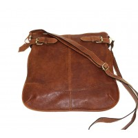 Leather crossbody hobo bag Vidal in antic cognac shoulder bag