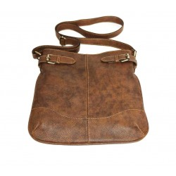 Leather crossbody hobo bag Vidal in antic distressed brown shoulder bag