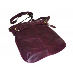 Leather hobo bag Vidal in distressed deep purple leather shoulder crossbody purse