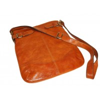 Leather hobo bag Vidal in distressed orange leather shoulder crossbody bag
