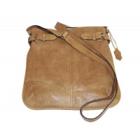 Leather hobo bag Vidal in vintage light tan leather shoulder crossbody bag